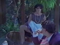 Jeanna Fine strips to Sheer light beige Pantyhose