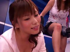 Akiho Yoshizawa Mika Kayama and Yuma Asami in foursome