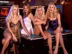 Five fair haired babes having a pajama party in the living room