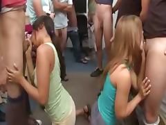 Teen girls playing gagging dick marathon