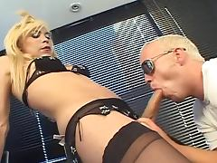 Blonde tranny with big cock and a guy fucking each other in their asses