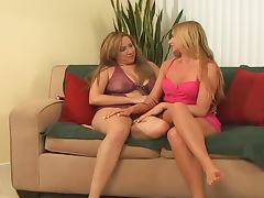 Busty milf and a horny blond slim babe get in a lesbian sex