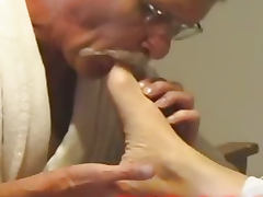 Man caught sucking MILF toes and turned into sex slave