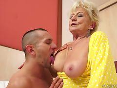Blonde granny Malya sucks a hard dick and enjoys riding it