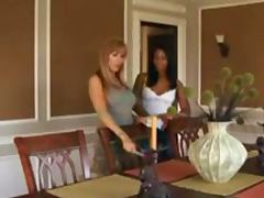 Mature blonde seduces a hot ebony girl and makes lesbian love to her