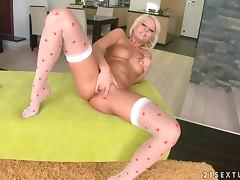 Antynia Rouge the cute blonde fingers her smooth pussy
