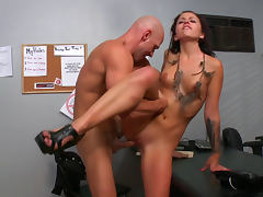 Johnny Sins penetrates shaved pussy of Madelyn Monroe