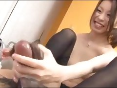 Japanese Handjob and Footjob