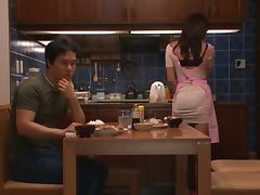 Hot Japanese housewife has wild sex after dinner