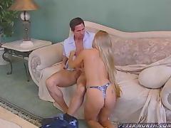 Slutty blonde girl having an amazing MMF threesome sex