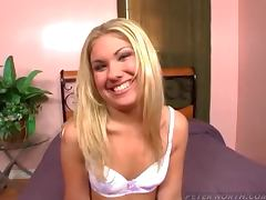 Smiling blonde girl gives an amazing POV blowjob