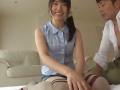 Lusty teen Rika Hoshimi oils herself up for a threesome