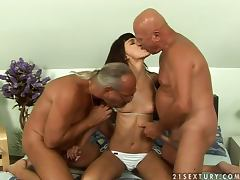 Two Old Geezers Share A Hot Brunette Babe
