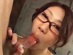 Fuuka takanashi with glasses gives blowjob
