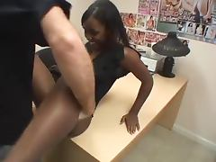 Hot Ebony Sucks And Fucks A Lucky White Guy