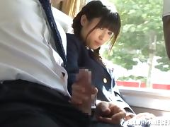 Kinky Japanese School Girl Riding a Cock in a Bus during Trip