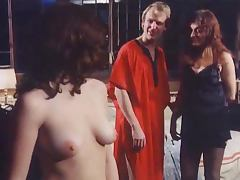 Two horny brunettes get their hairy vags pounded in vintage video
