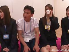 Japanese Orgy, Bra, Fingering, Group, Hairy, Office
