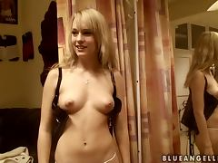 Sweet Blue Angel changes her clothes in a dressing room porn video