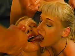 Sweet blonde being covered with tasty sperm as she loves