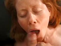 Redhead likes cum on her face