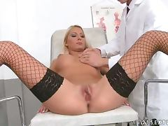 Adelle the hot blonde in fishnets gets fucked by a doctor