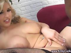Cuckold eats cum off femdom bitch