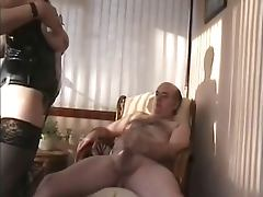 Mature couple fucked on chair