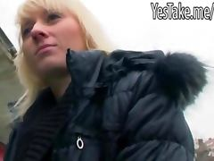 Cute blondie European gambler Laura slammed for some money