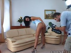 Slim and hot Suzie Diamond gets threesomed on a sofa