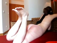 Crazy husband belt whipping feet and ass your lol wife