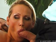 Sizzling Mandy Bright gets face fucked before getting a DP