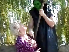 Granny gets a lesson from masked man