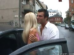 Horny blond Jenny Sanders comes to his place