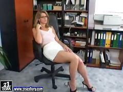 Katalin the sexy secretary plays with her pussy in the office porn video