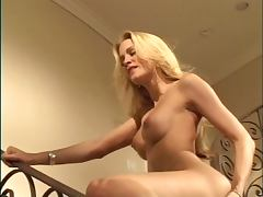 Blonde with nice ass exposes her pussy on stairs to old man