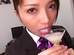 Yuuna Takizawa sucks a cock and drinks cum out of a glass