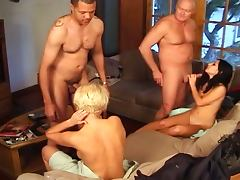 Amateur foursome with two sluts porn video