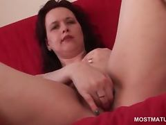 Mature brunette strips lingerie and finger fuck starved cunt porn video