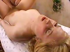 Amateur blonde in stockings gets her vagina fucked