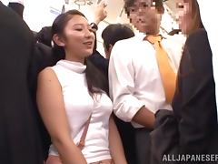 Hot Japanese chick gets fucked between tits on a train porn video