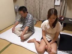Pretty Japanese housewife performs his marital duty porn video