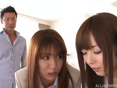 Two slutty Japanese girls share some horny guy's prick