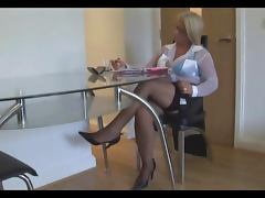 Secretary, Blonde, Fishnet, MILF, Secretary, Skirt