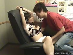 Hot Japanese girl sucks a cock and gets fucked on an armchair