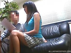 Miniskirt, Couple, Fucking, Hardcore, Office, Sofa