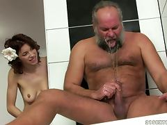 Old and Young, Bathroom, Blowjob, Couple, Doggystyle, Fetish