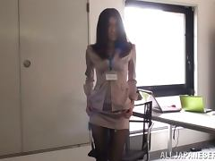 Sexy Japanese office girl toys her trench before getting it fucked