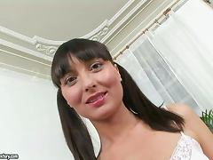 Masha gets her asshole fucked and her chin covered with cum