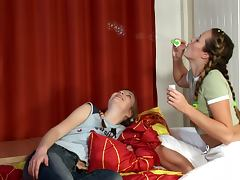 Pigtailed teens Dagi and Teresa enjoy toying each other's cunts